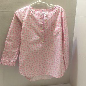 Girls carter log sleeve pink and white shirt